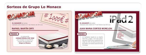 Ganadores de los últimos sorteos celebrados por Grupo LoMonaco