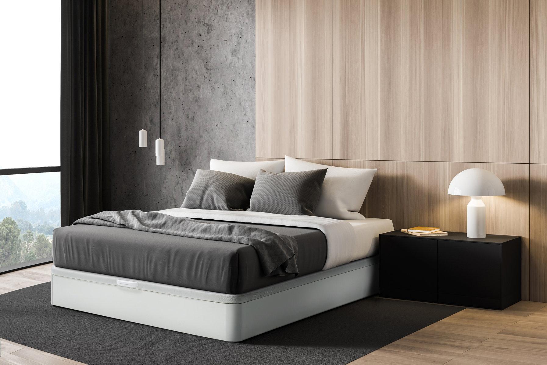 Canapé de madera color en dormitorio